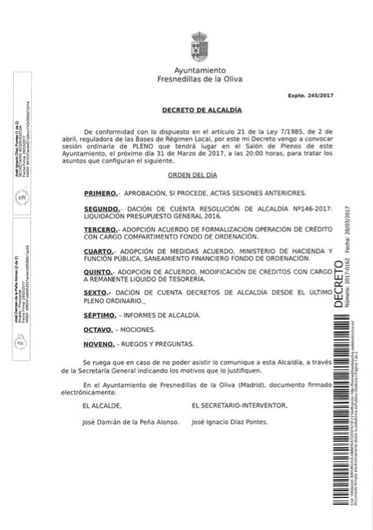Pleno ordinario marzo 2017