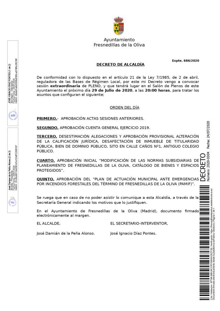 Convocatoria Pleno 27 julio 2020
